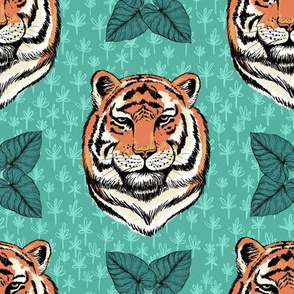 Tigers And Palm Leaves Green