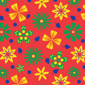 Super Cute floral design in bright happy colors, blue, green, orange, red, yellow and purple. A modern floral repeat pattern design.ers-red-with-clipping-mask