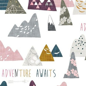 Adventure Awaits (white/pink) MED