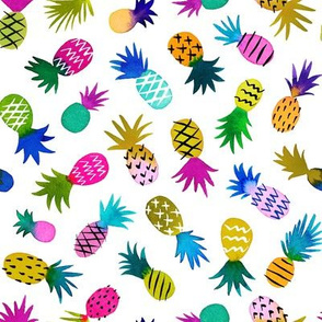 pineapple fun whimsical - white, small