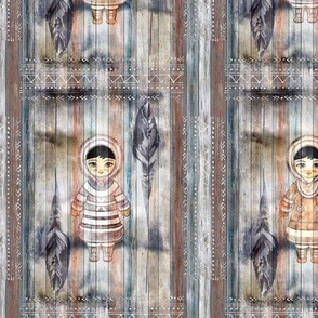 INUITS NORTH POLE STAGGERED FRAMES CHARACTERS ON PLANK WOOD  v1 WATERCOLOR FLWRHT