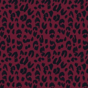 leopard - burgundy & black