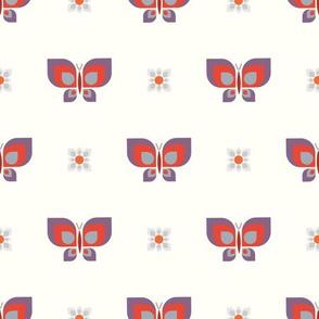 Geometric retro pink butterfly vector pattern in line.
