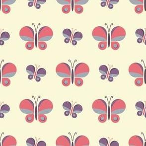 Geometric retro pink butterfly vector pattern design.