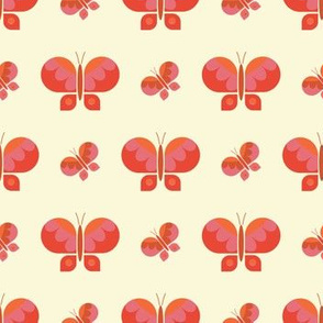 Geometric orange retro butterfly vector pattern design.