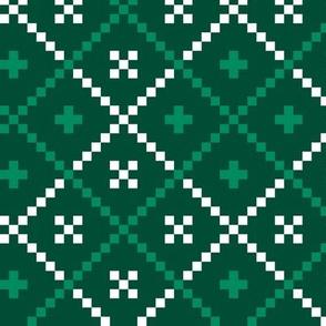 Dark green nordic folk christmas pattern