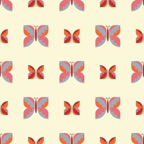 Geometric retro butterfly vector pattern design.