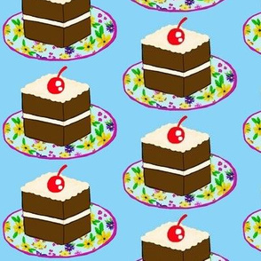 Chocolaty Chintz  / Cake on Plates / Blue Ground