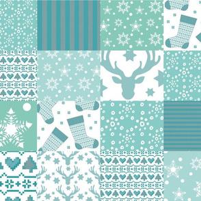 wintertime patchwork - mintgreen - light teal