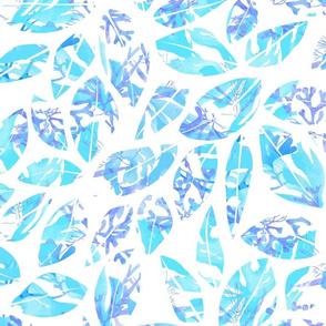 Leaves Hidden Seahorses Blue 300