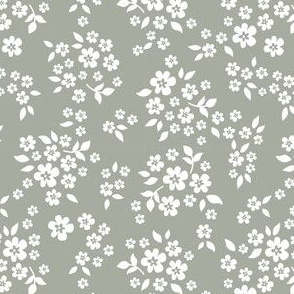 whimsy floral sage gray green