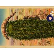 Painted Desert Tea Towel* (Gila Monsters)    flowers floral vintage postcard retro 70s Wild West western cut and sew diy kitchen