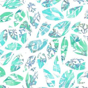 Leaves Hidden Seahorses Aqua 300