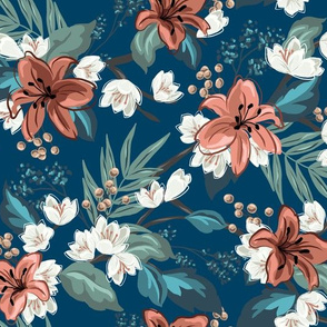Carnation Chintz - Blue