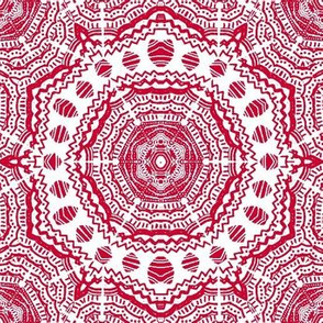 Downward Striation Medallions /Raspberry Red and White -English Cottage Dancing kaleidoscope
