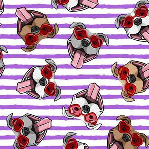 happy dogs heart glasses - pit bulls with heart shaped glasses - valentines dogs - purple stripes - LAD19