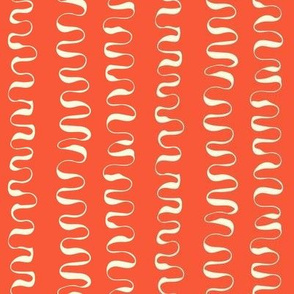 SQUIGGLE LINES - cream on orange
