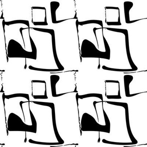 SQUIGGLE SQUARES - black on white