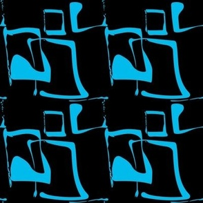 SQUIGGLE SQUARES - blue on black
