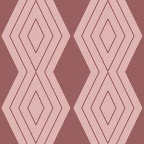 JP24 - Medium  - Harlequin Pinstripe Diamond Chains in Two Tone Rusty Dusty Mauve