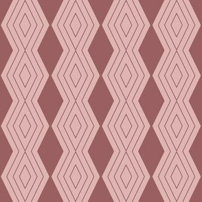 JP24 - Small - Harlequin Pinstripe Diamond Chains in Two Tone Rusty Dusty Mauve