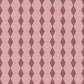 JP24 - Tiny - Harlequin Pinstripe Diamond Chains in Two Tone Rusty Dusty Mauve