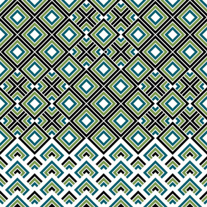 Geometric green_blue_black_white 065