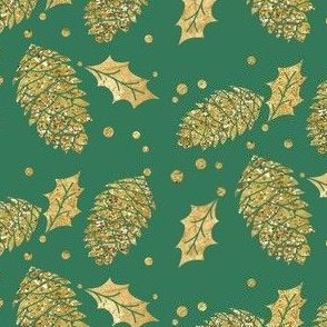 Gold Pine Cones and Holly on Green