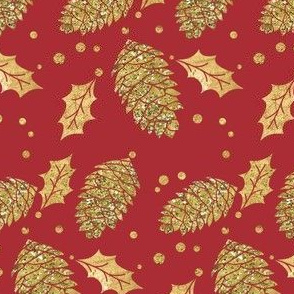 Gold Pine Cones and Holly on Red