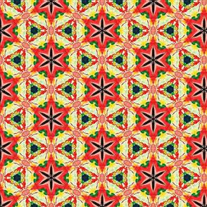 Red geometric kaleidoscope watercolors stars