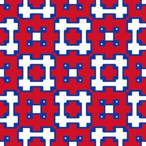 New York Rangers Hockey Geometric Boxes Team Colors Red White Blue