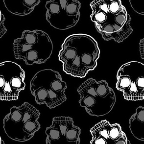 Grey and White Skulls on Black