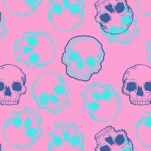 Aqua and Blue Skulls on Pastel Pink