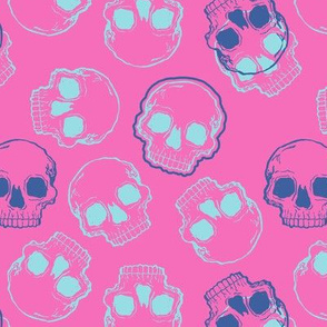 Aqua and Blue Skulls on Bright Pink
