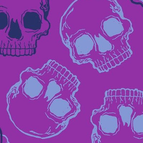 Large Scale Aqua and Navy Blue Skulls on Purple