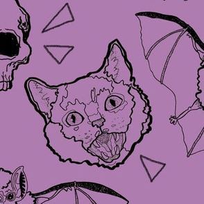 Large Scale Cats and Bats and Skulls on Purple