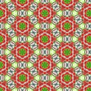 Whimsical kaleidoscope red, green flowers