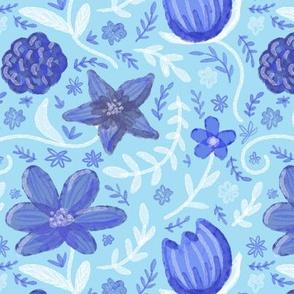 Morning Flowers Blue