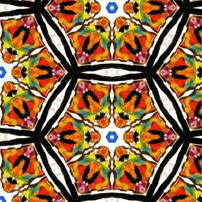 Psychedelic watercolors kaleidoscope hexagons