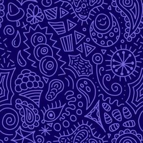 Random Doodles Navy Blue