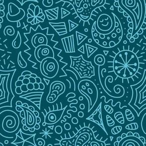 Random Doodles Teal Blue