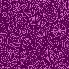 Random Doodles Pink Magenta