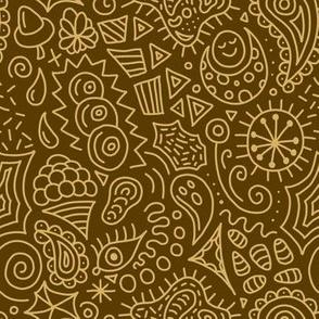 Random Doodles Gold Yellow