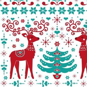 christmas folk art pattern - teal