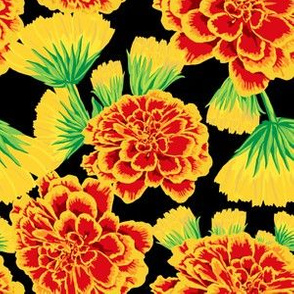Marigold + Calendula Floral in Midnight Black