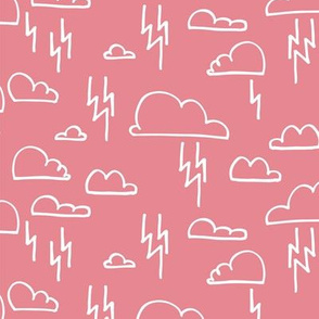 Clouds Lightning Pastel Pink