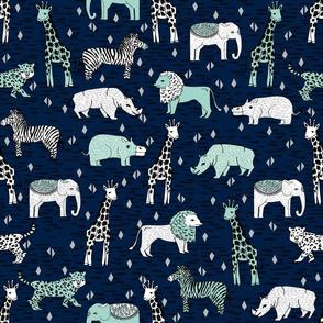 safari nursery fabric - safari nursery wallpaper, baby wallpaper, baby boy wallpaper, baby boy fabric, safari animals - grey, navy, mint