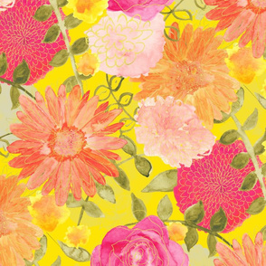 Floral on Yellow