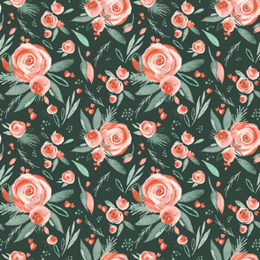 Floral Bliss |Peach Watercolor Blooms on Forest Green | Renee Davis