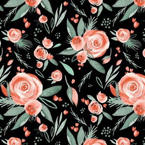 Floral Bliss Peach | Watercolor Roses Black | Renee Davis